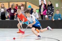 KE Floorball in Herzhausen, 03/19 1. HF: Ederseeschule Herzhausen - Diemeltalschule Usseln (in Rot) 2:0 Foto: Artur Worobiow