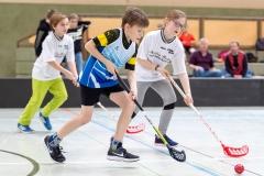 KE Floorball in Herzhausen, 03/19 Finale: Ederseeschule Herzhausen - Henkelschule Vöhl (in Weiß) Foto: Artur Worobiow